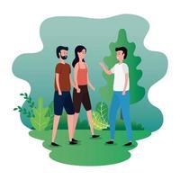 gruppo di persone sui personaggi del parco vettore