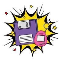 floppy con mascotte di videogiochi degli anni novanta in esplosione pop art vettore