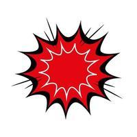 icona di stile pop art colore rosso esplosione