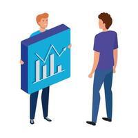 giovani uomini e pulsante con grafico statistico a barre