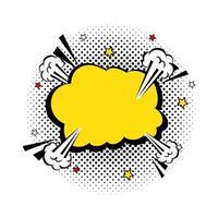 icona di stile pop art colore giallo esplosione nuvola
