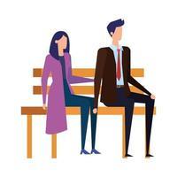 elegante coppia di affari seduti sulla sedia del parco