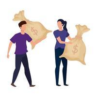 giovane coppia con personaggi di avatar di borse di denaro
