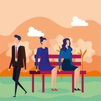 uomini d'affari seduti sulla sedia del parco