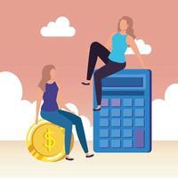 giovani donne con caratteri calcolatrice