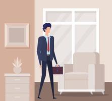 elegante uomo d'affari lavoratore in soggiorno