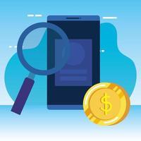 monete soldi dollari con smartphone e lente di ingrandimento
