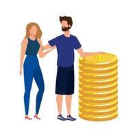 giovane coppia con monete soldi avatar personaggi
