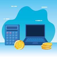 monete soldi dollari con laptop