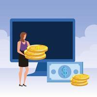 giovane donna con desktop e denaro