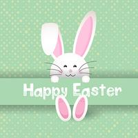 Simpatico coniglietto di Pasqua su sfondo a pois