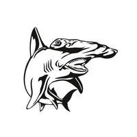smerlato squalo martello o sphyrna lewini vista frontale xilografia retrò in bianco e nero vettore