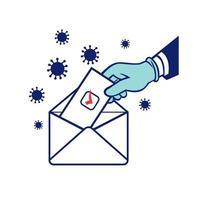 elettore americano che vota usando il voto postale durante le elezioni di blocco pandemiche retrò