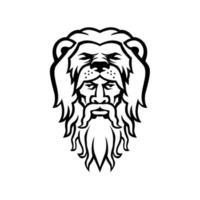 Ercole che indossa mascotte testa di pelle di leone in bianco e nero vettore