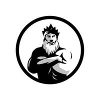 uomo barbuto che indossa la corona con le braccia incrociate cerchio vettore