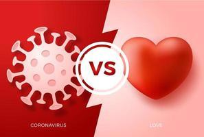 San Valentino vs concetto di coronavirus. ama il cuore contro il virus. protezione covid segno illustrazione vettoriale. sfondo di progettazione di prevenzione covid-19 vettore