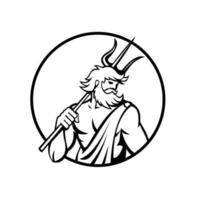 dio romano del mare Nettuno o Poseidone che tiene cerchio tridente retrò in bianco e nero vettore