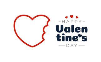carta di San Valentino amore morso. vettore morso cuore, colore rosso, isolato su sfondo bianco illustrazione vettoriale