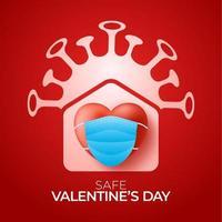 San Valentino a casa sicuro il giorno 2021. carta d'amore di coronavirus con icona a forma di cuore e casa vettoriale. stare a casa badge in quarantena. reazione covida.