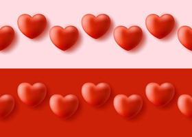 modello senza cuciture con cuore 3d realistico. felice giorno di San Valentino realistico 3d cuore seamless pattern. sfondo rosso amore, trama ripetuta romanticismo. carta da parati orizzontale. vettore
