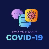 parliamo dei fumetti di dialogo dell'illustrazione del doodle del coronavirus covid-19 con l'icona. vettore