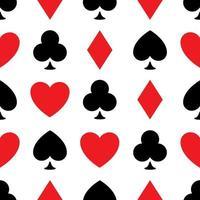 sfondo modello senza soluzione di continuità di semi di poker - cuori, fiori, picche e quadri - disposti nelle righe su sfondo bianco. illustrazione di vettore del tema di gioco del casinò.