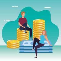giovane coppia con monete e banconote