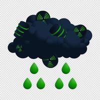 illustratore di vettore di nuvola nucleare e pioggia. Icona radioattiva con disegno vettoriale di fallout acido goccia verde.