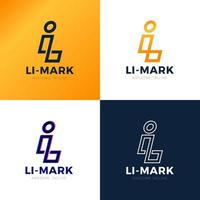 Webli li linea astratta alfabeto lettera combinazione vettore icona logo design