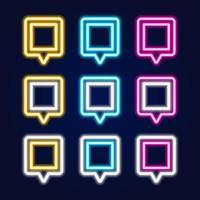 insieme di vettore dell'insegna al neon isolata quadrata realistica del perno della mappa per la decorazione e la copertura sui precedenti blu. concetto di consegna, logistica e trasporto.