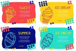 imposta il modello di pagina di destinazione astratto con elemento diverso, blocco di testo e icona gelato doodle. vettore sfondo divertente