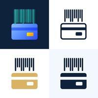 codice a barre con un set di icone vettoriali stock carta di credito. il concetto di pagamenti contactless nel settore bancario. il lato posteriore della carta con un codice a barre.