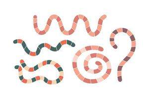 set di simpatici vermi del fumetto disegnato a mano in diverse pose isolati su sfondo bianco vettore