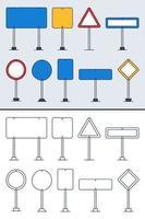Insieme di vettore dei segnali stradali di doodle in stile contorno colorato e scarabocchio. icone del segnale stradale disegnate a mano isolate su priorità bassa bianca.