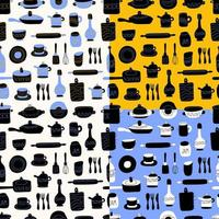 cucina seamless pattern di articoli per la tavola decorativi. utensili o stoviglie in ceramica - tazze, piatti, scodelle, brocche. illustrazione vettoriale in stile piatto con texture colorate.