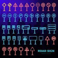 mega set vettoriale di segnaletica stradale doodle in stile neon. icone del segnale stradale disegnate a mano isolate su sfondo scuro paesaggio della città.