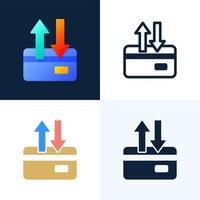 frecce su e giù set di icone vettoriali di carta di credito. il concetto di trasferimento di dati, transazioni di un conto bancario. lato posteriore di una carta di credito con due frecce.