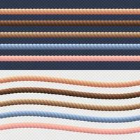 set di linee di corda diverse. vettore. collezione corda di colore diverso corda nautica intrecciata per bordi o cornici. illustrazione vettoriale