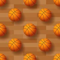 seamless con palla da basket. illustrazione vettoriale. ideale per carta da parati, copertina, involucro, packaging, tessuto, design tessile e qualsiasi tipo di decorazione. vettore