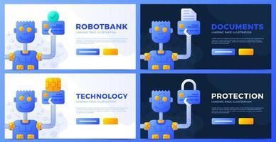 robot che tiene una carta di credito in mano una raccolta di illustrazioni vettoriali. documenti bancari, protezione dell'account, set di vettore di tecnologie del sistema di pagamento