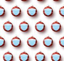 Natale covid seamless pattern illustrazione vettoriale. protezione da virus e buon natale concetto. vettore del nuovo anno 2021 e coronavirus covid-19 durante la pandemia