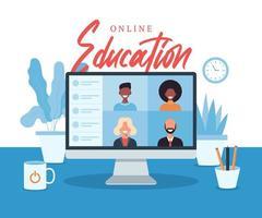 formazione online, e-learning, concetto di corso online, illustrazione vettoriale di scuola domestica. studenti sullo schermo del computer portatile, apprendimento a distanza, nuova normalità, fumetto illustrazione vettoriale piatta