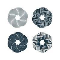 set di elementi di design di cerchi di torsione di movimento a spirale e vortice. illustrazione vettoriale. vettore