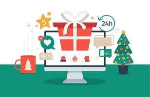 shopping online di natale. illustrazione vettoriale di cartone animato piatto con lo schermo del computer pc con confezione regalo rossa, abete rosso, tazza sulla scrivania, saldi di vacanze invernali. Natale a causa del coronavirus