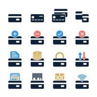 set di carta di credito in stile moderno. simboli bancari colorati di alta qualità per la progettazione di siti Web e app mobili. semplici pittogrammi di carte di credito su uno sfondo bianco vettore
