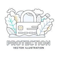 lucchetto con illustrazione di riserva di vettore di carta di credito isolato su uno sfondo bianco. il concetto di protezione, sicurezza, affidabilità di un conto bancario. lato anteriore della carta con un lucchetto chiuso.