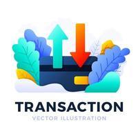 frecce su e giù illustrazione vettoriale di carta di credito stock isolato su uno sfondo bianco. il concetto di trasferimento di dati, transazioni di un conto bancario. lato posteriore di una carta di credito con due frecce.