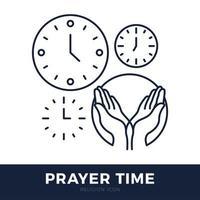 tempo di pregare logo vettoriale. icona delle mani in preghiera con l'orologio. vettore