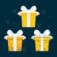 set di elementi di design piatto scatola regalo vettore