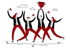 risultati del team aziendale. manager con trofeo vincente e dipendenti che saltano. gruppo di persone che salta e applaude felicemente tenendo il trofeo. concetto piatto di successo business team vettoriale